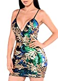 Romacci Women Sparkling Sequin Dress Sexy Plunge V Neck Sleeveless Backless Bodycon Nightwear Cocktail Evening Party Clubwear
