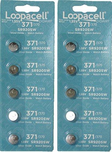 10 Loopacell Watch Battery Button Cell SR920SW 371 (2 Packs of 5) Batteries (Watch Batteries D371)