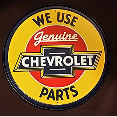 Chevrolet Chevy Genuine Parts Round Retro Vintage Tin Sign