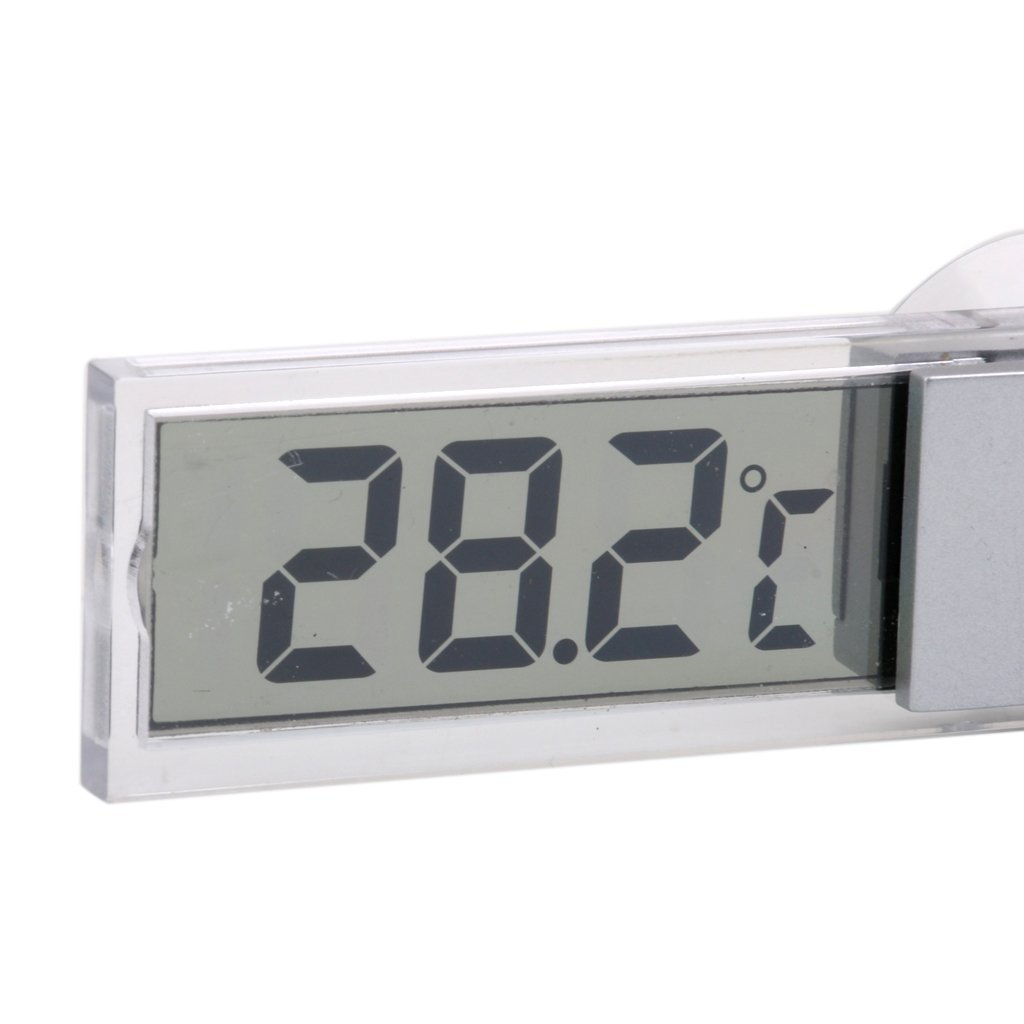 TOOGOO Thermometre interieur transparent en type de ventouse pour la Voiture et le Camion Thermometre LCD numerique Capteur de temperature interieur Thermometre de ventouse Argent