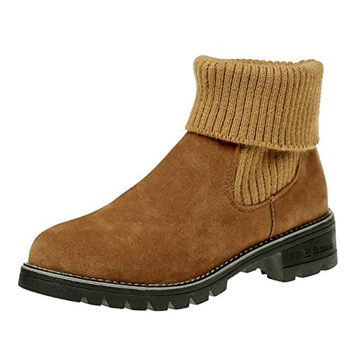 Binying Women's Round-Toe Knit Block Heel Slip-on Chelsea Boots Brown
