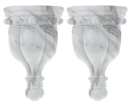 Urbanest Set Of 2 Rigaud Drapery Sconce, 1 3/4 Inch Diameter, White Marble by Urbanest