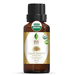 SVA Organics Vetiver Essential Oil Organic Certified- 10 ml (1/3 fl. oz.) 100% Pure, Natural & Premium Therapeutic Grade For Face, Skin, Hair, Massage & Aromatherapy