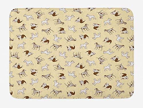 Dalmatian Bath Mat, French Bulldogs Terrier Labrador Joyful Friends Pets Company, Plush Bathroom Decor Mat with Non Slip Backing, 23.6 W X 15.7 W Inches, Pale Yellow Chocolate White (Pet Ego Tent)