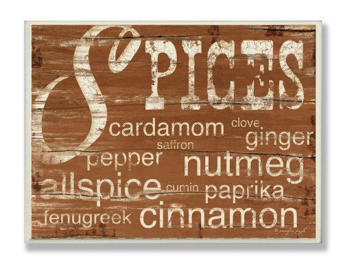 (Stupell Home Décor Spices And Words Brown Kitchen Wall Plaque, 10 x 0.5 x 15, Proudly Made in)