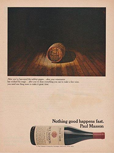 - ORIGINAL *PRINT AD* 1973 PAUL MASSON PINOT NOIR CALIFORNIA WINE