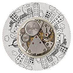 iPrint Beautiful Round Tablecloth [ Clock Decor,an Alarm Clock with Clouds and Buildings Around It Pattern Decorative Design,Light Grey ] Home Tablecloths Deasign
