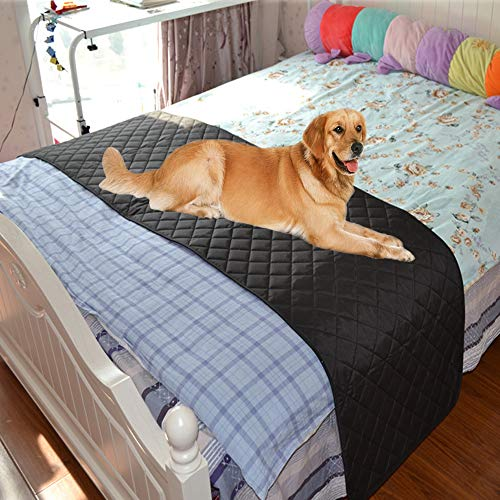 Kathson Pet Bed Scarf Bed Runners- Quilted Cozy Pet Protector Dog Covers for Bed(Black)