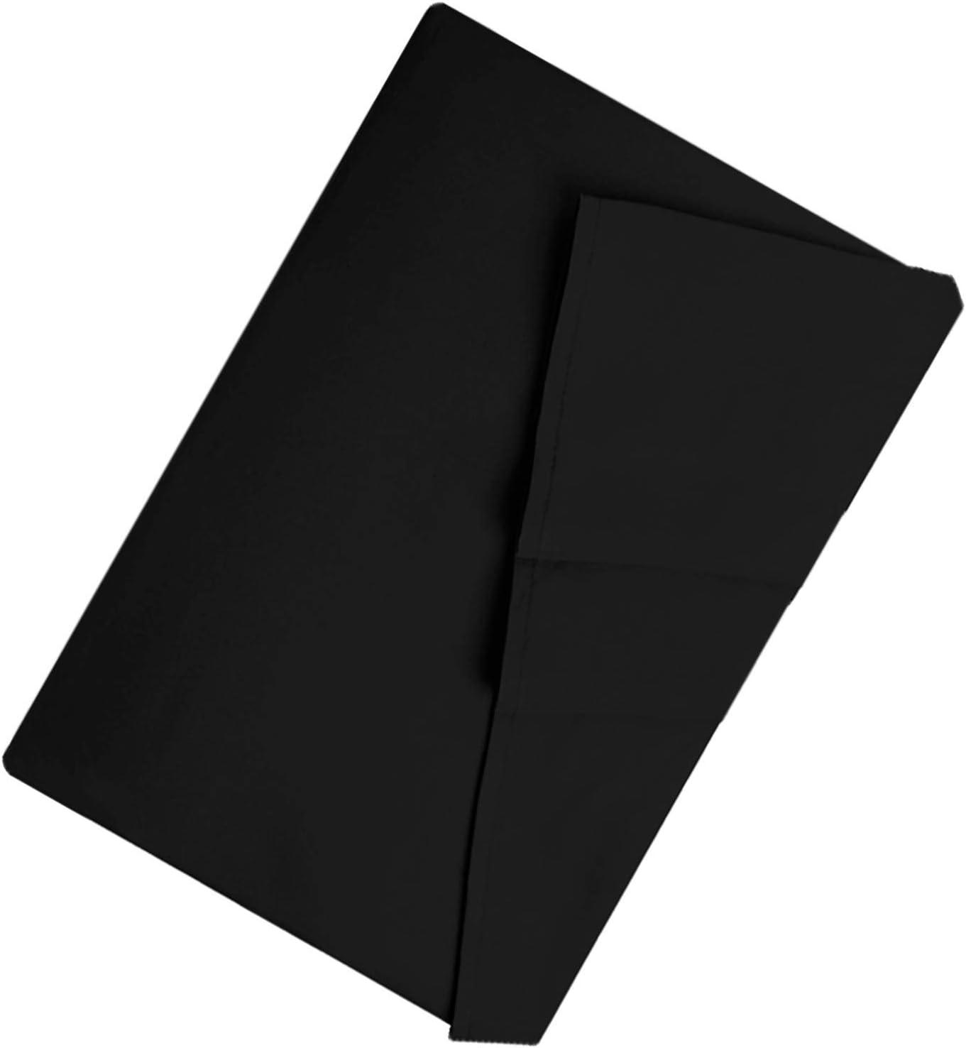 LiveComfort Drap Plat Extra Doux en Microfibre bross/ée Lavable en Machine sans Plis et Respirant King-Update Noir