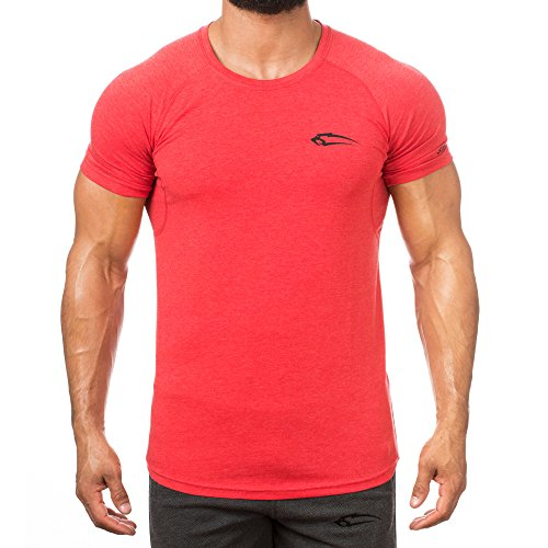 Smilodox T-shirt homme slim fit en tissu technique à manches courtes et col rond pour le fitness et la gym – T-shirt d'entraînement et de course avec impression