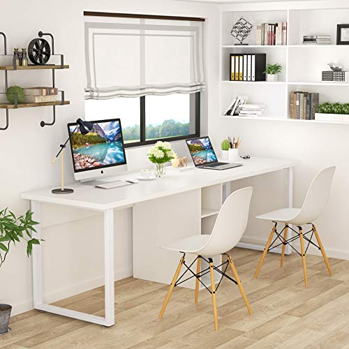 Tribesigns 78 Inches Computer Desk, Extra Large Two Person Office Desk with Shelf, Double Workstation Desk for Home Office (White)