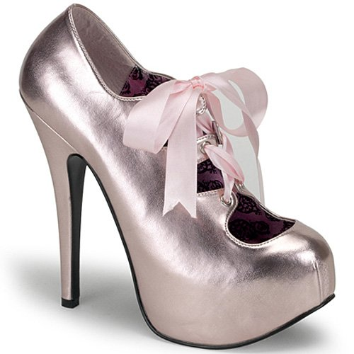 [Bordello by Pleaser Women's Teeze-09 Pump,Baby Pink Metallic Polyurethane,9 M US] (Infant Racing Halloween Costume)