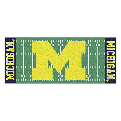 (FANMATS NCAA University of Michigan Wolverines Nylon Face Football Field Runner)