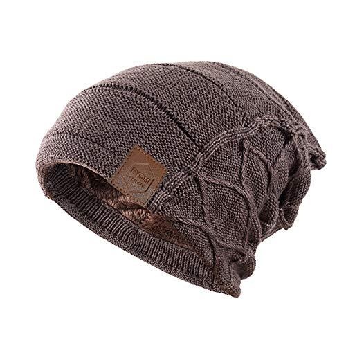 RYOMI SEIKATU Beanie Hat for Men and Women Fleece Lined Winter Warm Hats Knit Slouchy Thick Skull Cap Khaki (Nc Beanie)