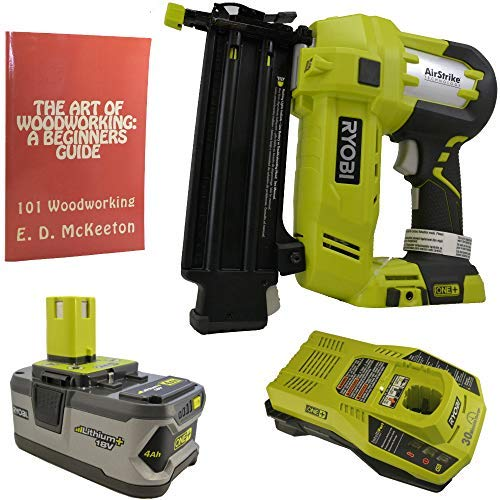 Ryobi P320 Airstrike Brad Nailer Bundle with 4.0 Amp 18-Volt Lithium Ion Battery, Charger and Woodworking Book
