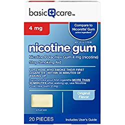 Basic Care Nicotine Gum 4mg, Stop Smoking Aid, Original, 20 Count