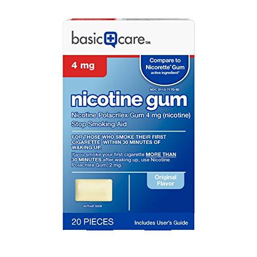 Basic Care Nicotine Gum 4mg, Stop Smoking Aid, Original, 20 Count - Nicotine Polacrilex Gum