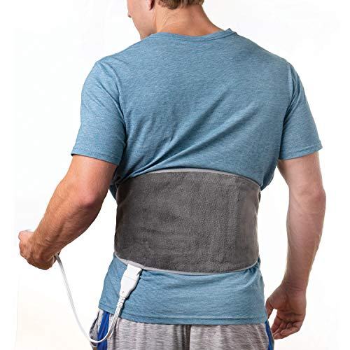 Pure Enrichment PureRelief Lumbar & Abdominal Heat Paid - Fast-Heating Technology with 4 Heat Settings, Adjustable Belt, Hot/Cold Gel Pack & Storage Bag - Ideal for Back Pain & Abdominal Cramps, Gray