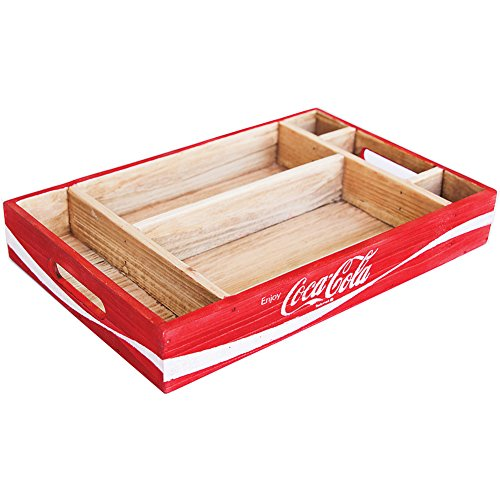 Coca-Cola Logo Coke Wooden Crate Desk Organizer Tray w/ C...