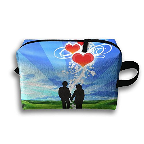 LEIJGS Valentine Love Couple Small Travel Toiletry Bag Super Light Toiletry Organizer For Overnight Trip Bag by LEIJGS