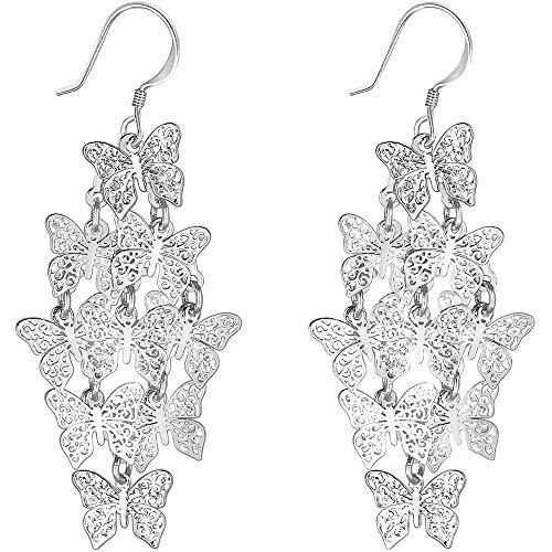 XZP Women's Chandelier Earrings Butterfly Tiered Dangle Earring (Silver ()