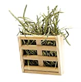 Hay Feeder Rack for Rabbit Guinea Pig ChinChilla Small Animals Cage, Mrlipet Natural Wooden Hay Manger Keep Grass and Food Minimizing Waste No Mess