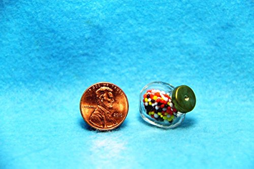 Dollhouse Miniature Gumball/Candy Jar for Countertop IM - My Mini Fairy Garden Dollhouse Accessories for Outdoor or House Decor
