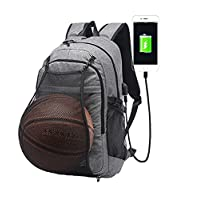 Gudui Laptop Backpack, Water Resistant Casual Hiking Travel Day Pack/College School Sports Bag with Basketball Net and USB Charging Port for Women/Men Fits 15.6 inch Notebook and Tablet
