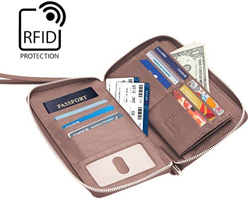 Brelox Travel Wallet Family Passport Holder - RFID Document Organizer for 4 5 6 passports - Genuine Leather - Blush Pink