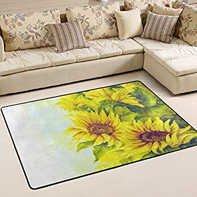 WOOR Sunny Sunflowers Oil Painting Living Area Rugs for Living Room Bedroom Dining Office 6 x 4 Feet Modern Floor Mat Home Decor