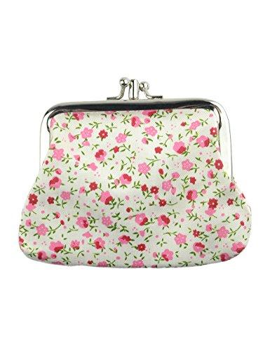 Fashion Women's Cute Classic Exquisite Buckle 2 Pockets Coin Purse (white-floral) (Change Purse Hardware)