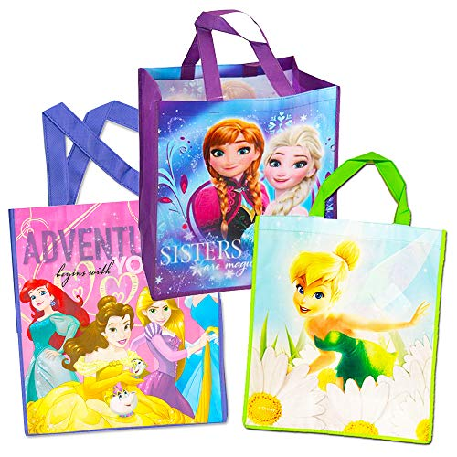 Disney Princess Tote Bags Value Pack -- 3 Reusable Tote Party Bags (Featuring Cinderella, Belle, Snow White and More)