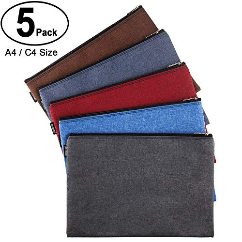 CenterZ 5 Pack Canvas Zipper Tool Bag Set, 13x9.5 inch 16oz Heavy Duty Waterproof Multipurpose Utility Multi Tool Storage Pouch Case for Organizing and Sorting Household Tools, Spare Parts (5 Colors) by CenterZ (Image #7)