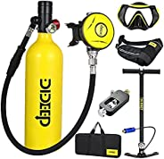 Mini Scuba Tank Oxygen Cylinder, Scuba Tank Diving Gear for Diver with 15-25 Minutes Capability 1L Diving &
