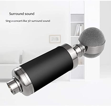 LEZDPP Small Bottle Condenser Microphone Network Recording Karaoke Computer Shouting Wheat Live Broadcast Equipment Color : Black