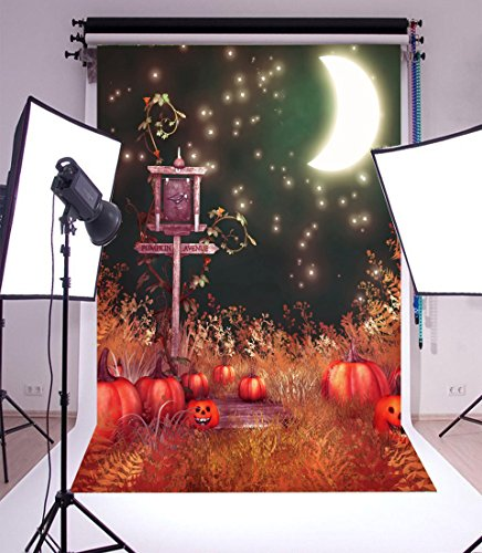 Laeacco Vinyl Thin Backdrop 5x7FT Photography Background Happy Halloween Road Lamp Avenue Guidepost Pumpkins Grimace Moon Elf Spirit Soul Quiet Night Scene Background 1.5(W)x2.2(H)m Photo Studio Props