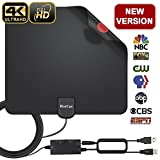 HDTV Antenna, Indoor Digital Amplified TV Antenna 70-100 Miles Range with Adjustable Amplifier Signal Booster 4K1080P HD VHF UHF Freeview for Life Local Channels Support ALL TV's -16.5ft Coax Cable