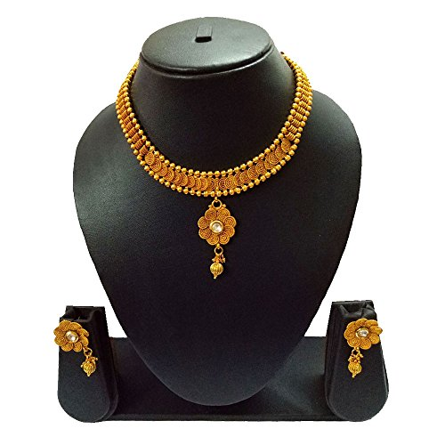Pourni Short Jalebi Necklace Set with Earring For Bridal Jewellery Antique Finish Necklace Set For Women by Pourni