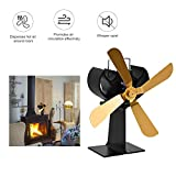 Silent Operation 4 Blades Large Heat Powered Stove Fan Thermo-Motive Heat Furnace Fan,efficiently circulates Warm air Throughout The Room