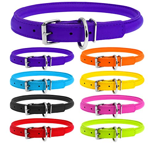 WAUDOG Rolled Leather Dog Collar - Round Dog Collars for Small Medium Large Dogs Thin Dog Collar - Glamour Plus (X-Small 6 2/3