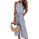 LUBERLIN 4th of July Womens Floral Printed Jumpsuit Halter Sleeveless Wide Long Pants Jumpsuit Rompers (Blue 1, M)