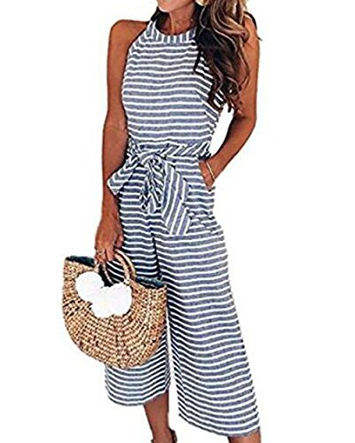 LUBERLIN 4th of July Womens Floral Printed Jumpsuit Halter Sleeveless Wide Long Pants Jumpsuit Rompers (Blue 1, (Striped Womens Capris)