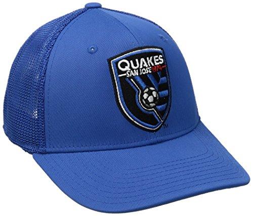 (MLS San Jose Earthquakes Adult Men MLS SP17 Fan Wear Tactel Trucker Flex Cap,L/XL,Blue)