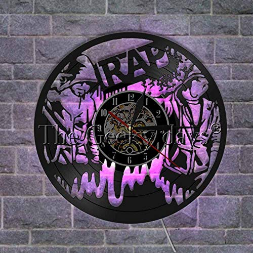 The Geeky Days 90s Rap Retro Wall Art Vintage Vinyl Record Wall Clock Hip Hop Music Studio Room Decor Musical Live Show Rappers Gift(with LED)