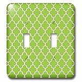 3dRose lsp_120258_2 Bright Green Quatrefoil Pattern Lime Moroccan Tiles Retro Islamic Art White Geometric Clover Lattice - Double Toggle Switch
