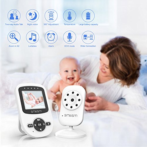 [UPGRADED VERSION] Video Baby Monitor with Digital Camera, 2.4'' LCD Display, Infrared Night Vision, Temperature Monitoring, Two Way Talkback Function and Lullabies