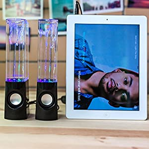 KALANDO Water Dancing Speakers Music Fountain Mini Amplifier Dancing Water Speakers with LED Lighting Show for Cellphone, ipod, MP3, Laptop, PC (Black)