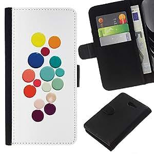 KLONGSHOP // Tirón de la caja Cartera de cuero con ranuras para tarjetas - Color Blanco puntos de colores - Sony Xperia M2 //
