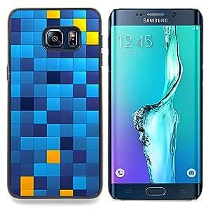 """Qstar Arte & diseño plástico duro Fundas Cover Cubre Hard Case Cover para Samsung Galaxy S6 Edge Plus / S6 Edge+ G928 (Patrón cuadrados Chechkered Azul Amarillo"""")"""