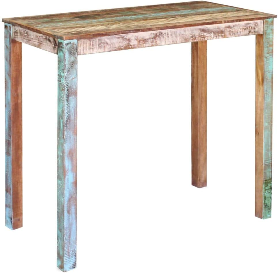 vidaXL Bartisch Recyceltes Massivholz Antik Esstisch Stehtisch Bistrotisch Mesa de Bar de Madera Maciza reciclada, Multicolor